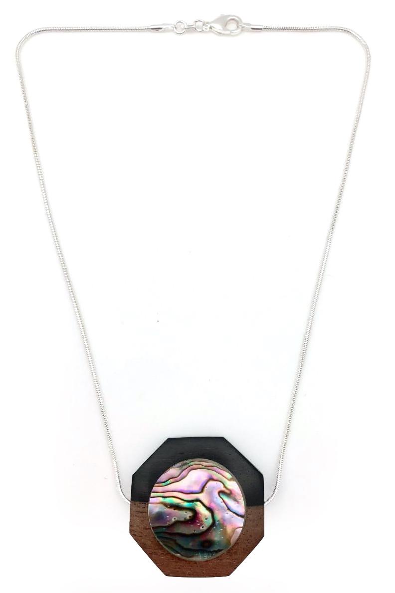 Ebony wood & abalone shell necklace