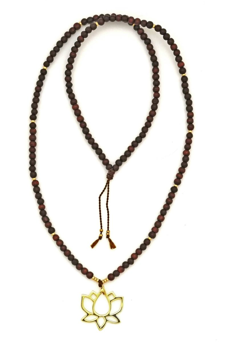 Gold Lotus Rosewood Necklace