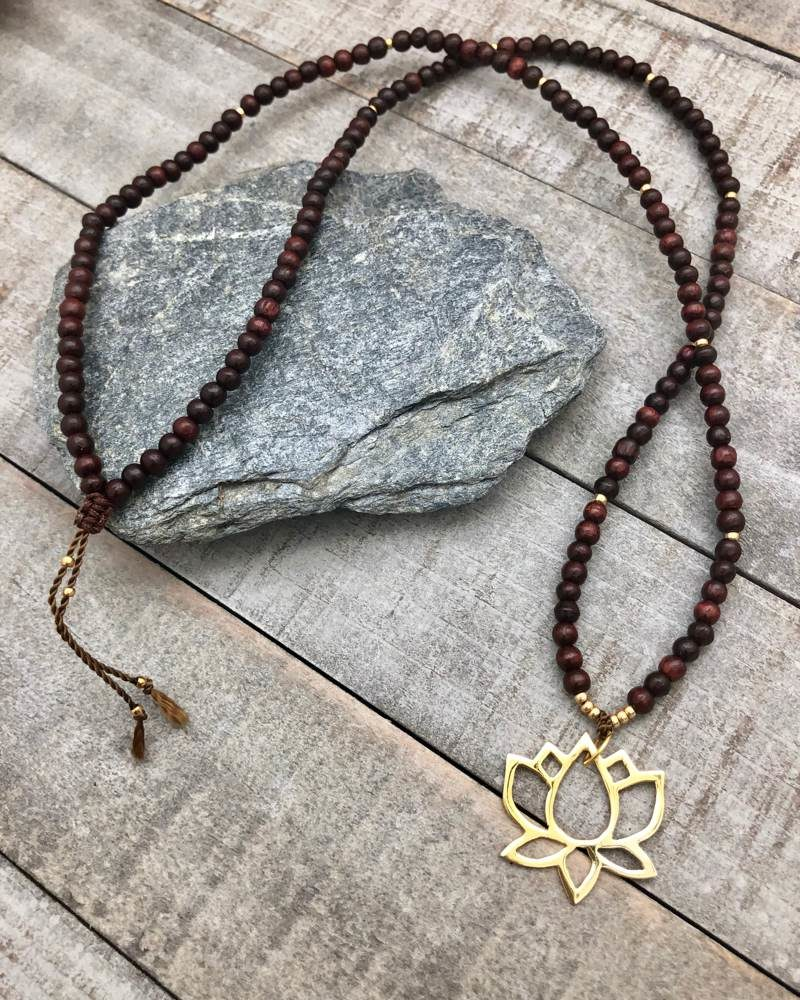 Gold Lotus Rosewood Necklace 2
