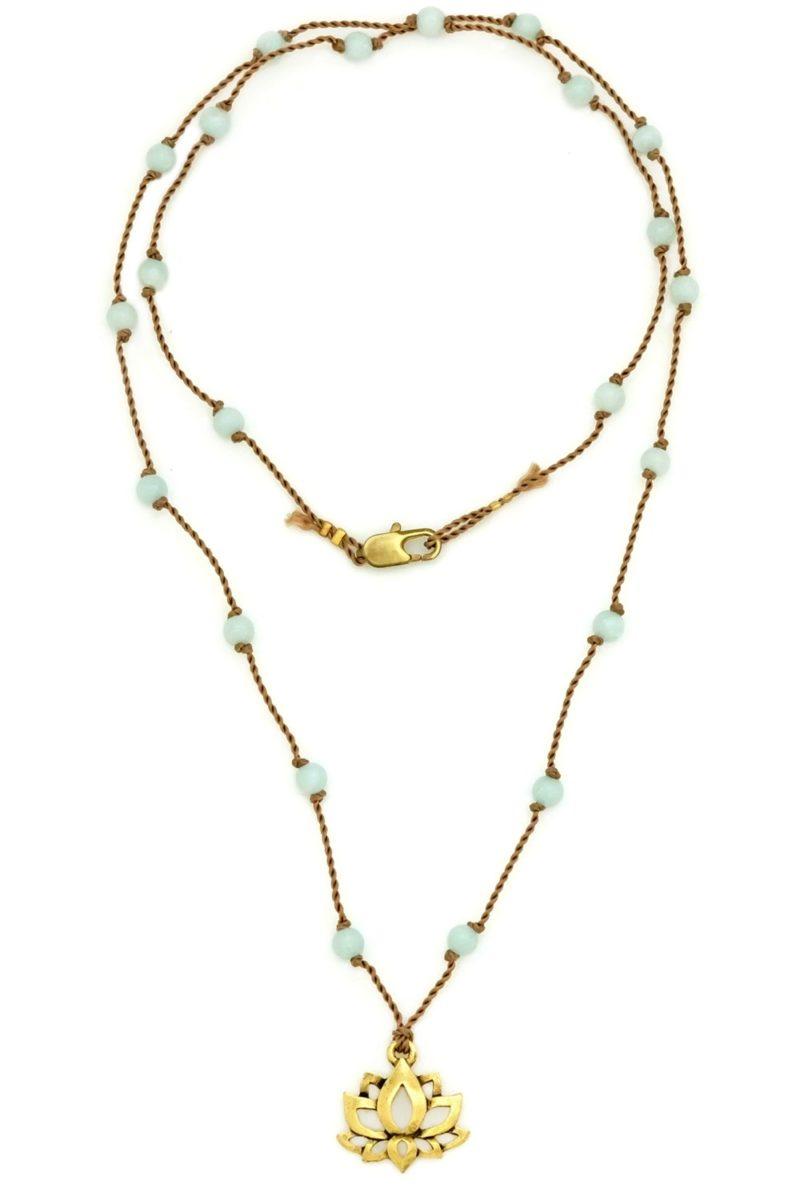 Golden lotus amazonite cord necklace