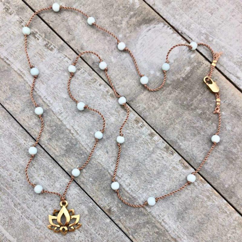 Amazonite Lotus Necklace - Golden lotus amazonite necklace
