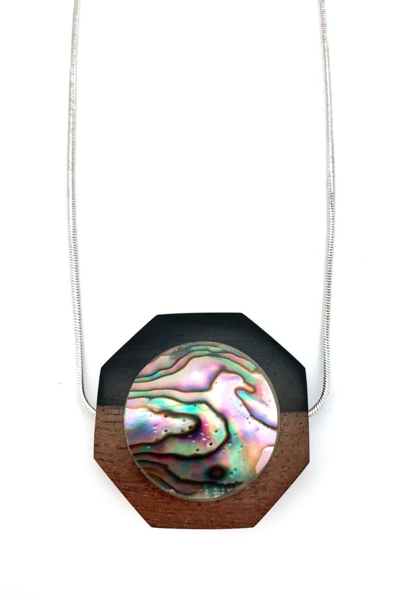 Hexagon Ebony Abalone Shell Necklace