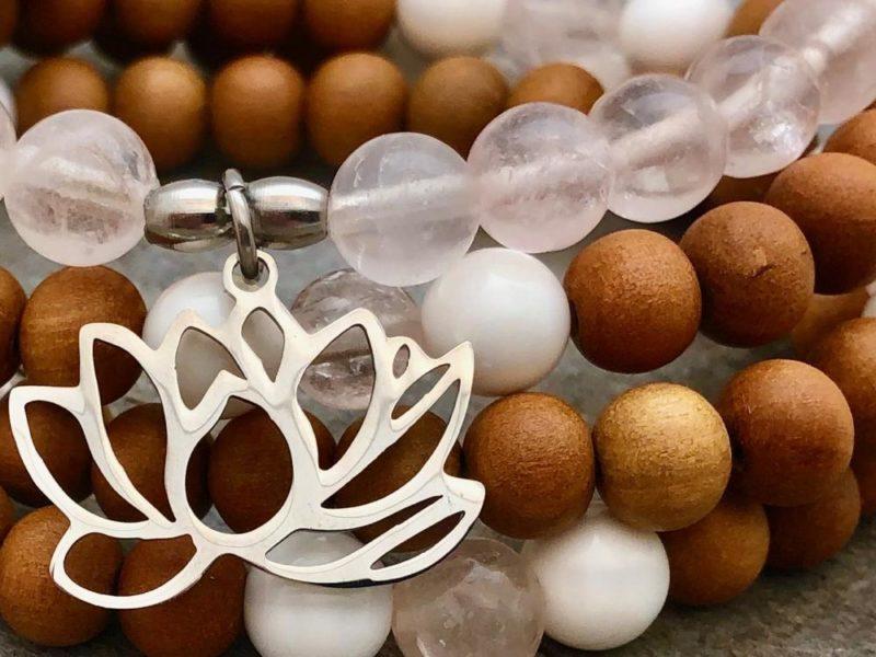 Lotus Love Mala Wrap Bracelet - Lotus Love closeup