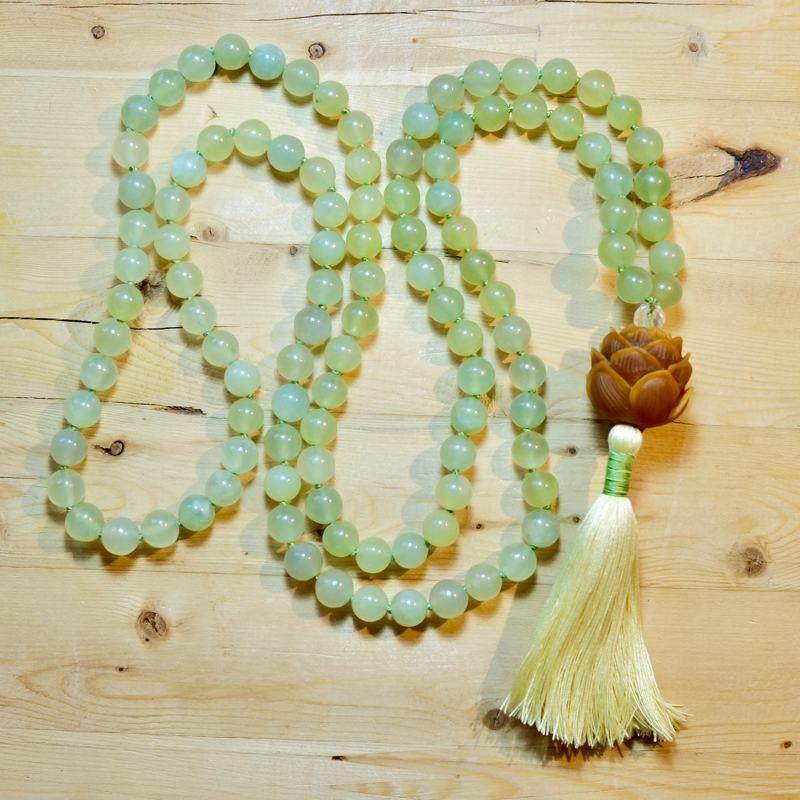 Prosperity Lotus Mala - Olive Jade Lotus Mala