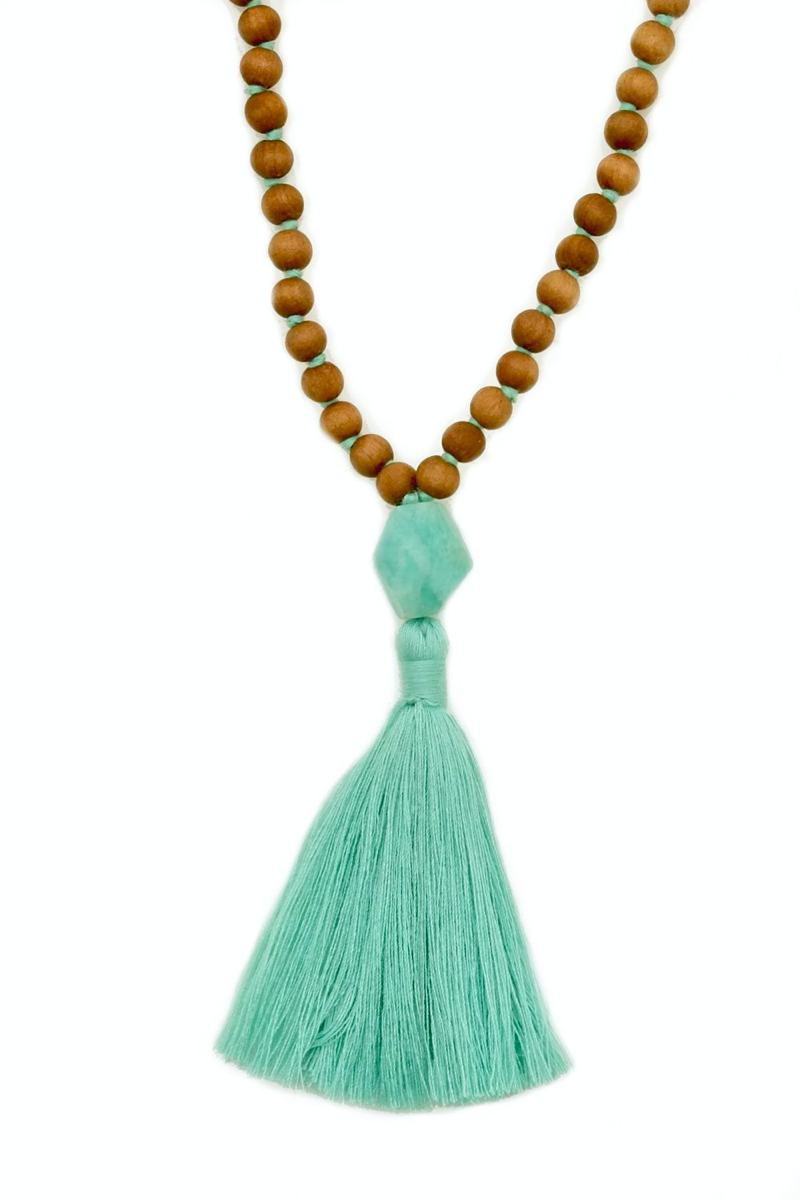 Amazonite Sandalwood Mala - Sandalwood Mala Amazonite Guru Bead