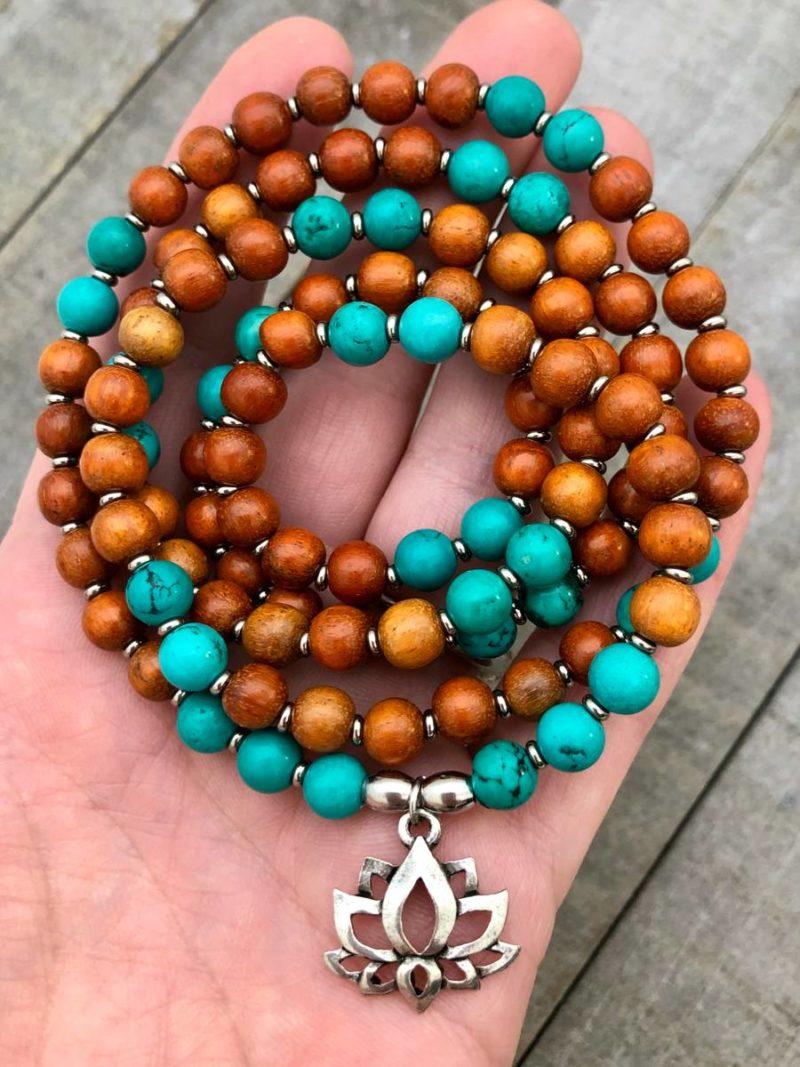 Turquoise Lotus Wrap Mala Bracelet - Turquoise Mala Bracelet
