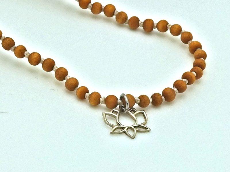 Petite Quartz Tassel Necklace - YA mini sandalwood quartz mala lotus