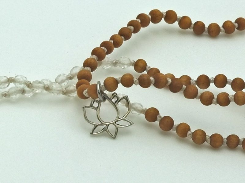 Petite Quartz Tassel Necklace - YA mini sandalwood quartz mala lotus2