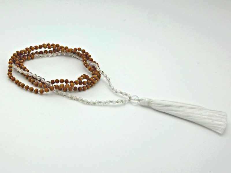 Petite Quartz Tassel Necklace - YA mini sandalwood quartz mala w