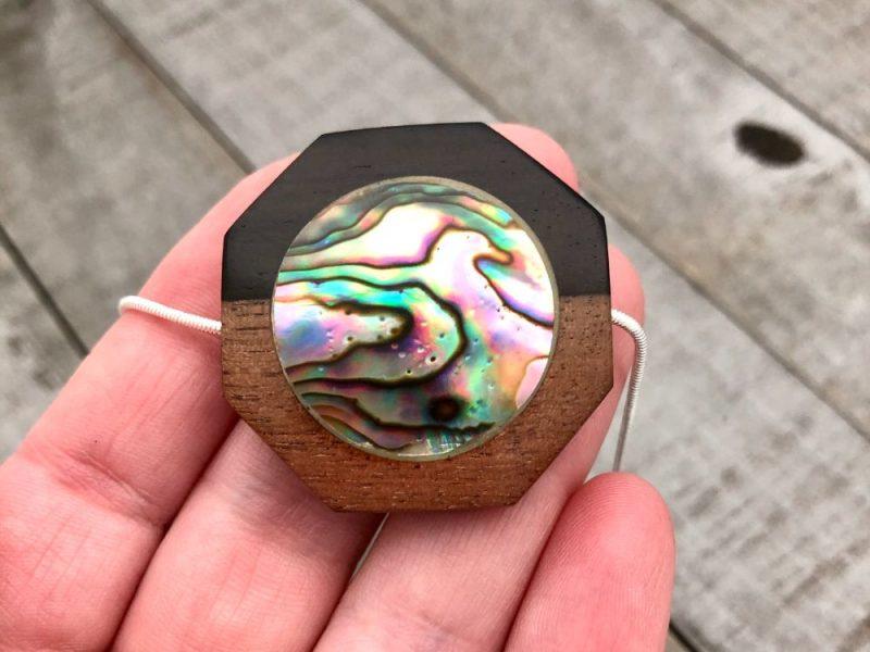 abalone shell wood inlay pendant