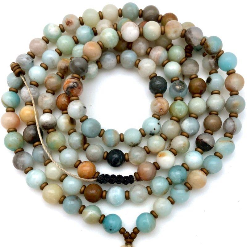 Tibetan Knot Prayer Beads - amazonite beads bronze spaceers