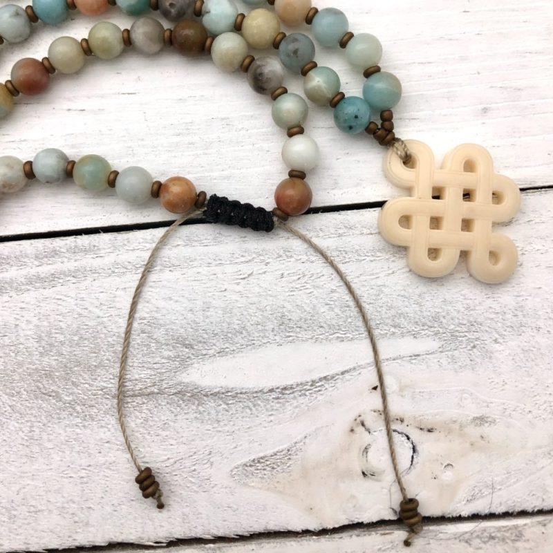Tibetan Knot Prayer Beads - amazonite knot adjustable knot in back