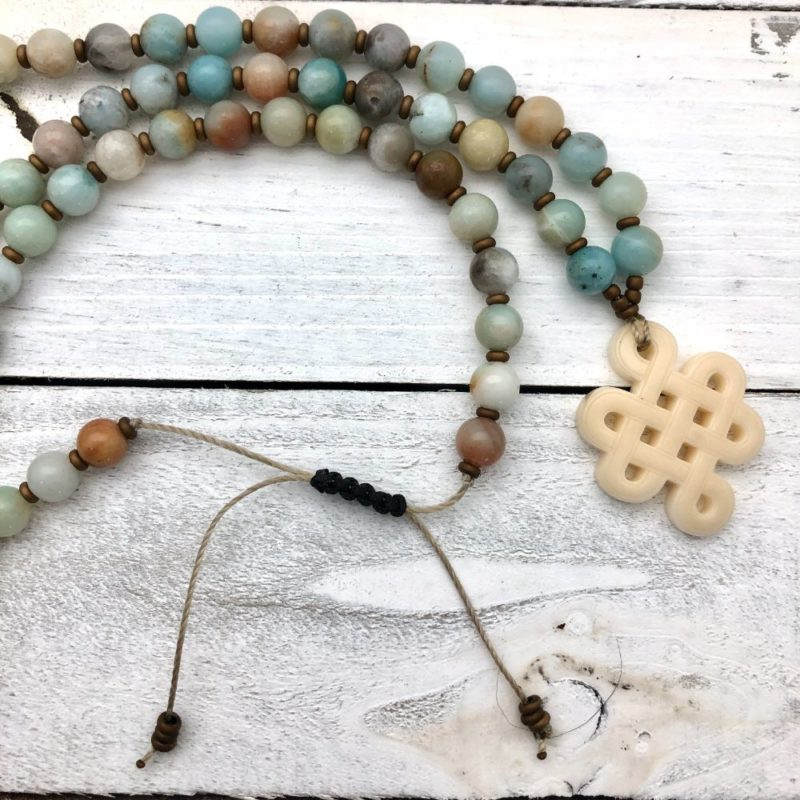 Tibetan Knot Prayer Beads - amazonite knot necklace open