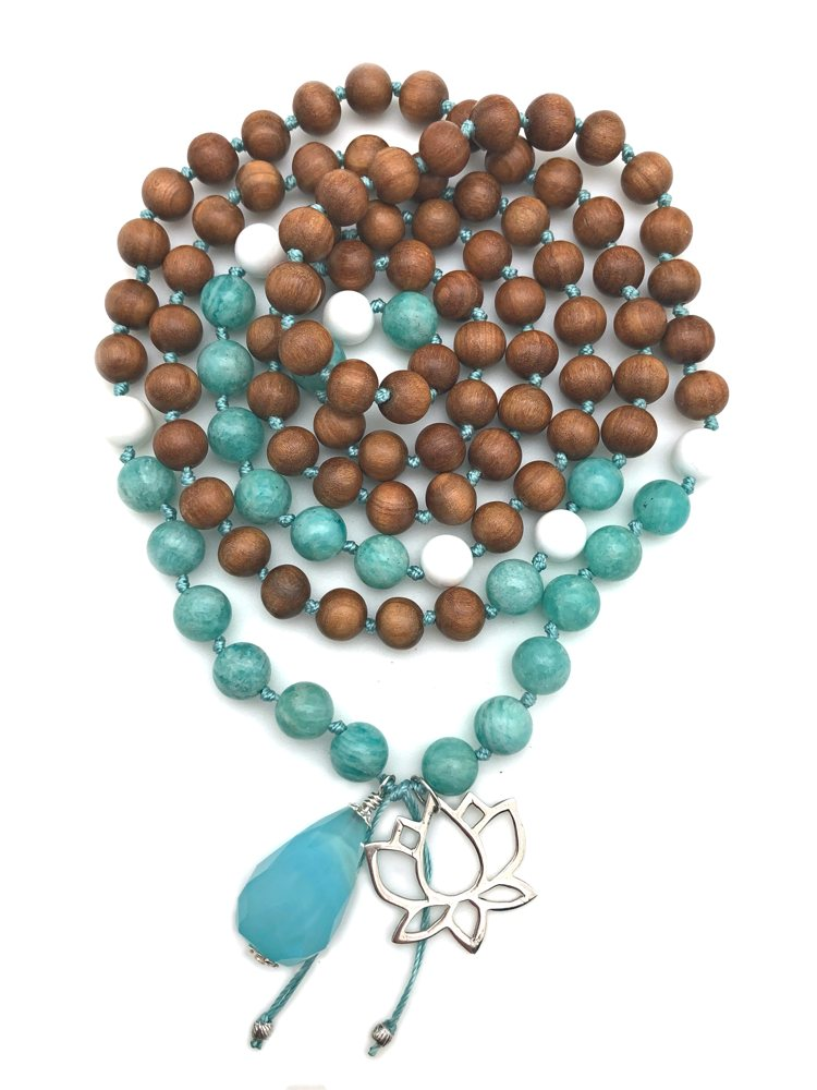 amazonite lotus mala necklace