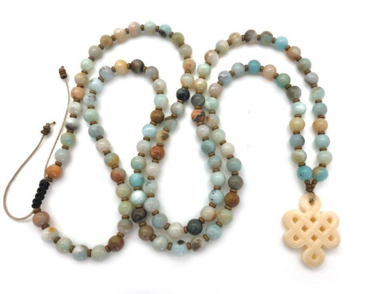 Tibetan Knot Prayer Beads - amazonite tibetan knot necklace