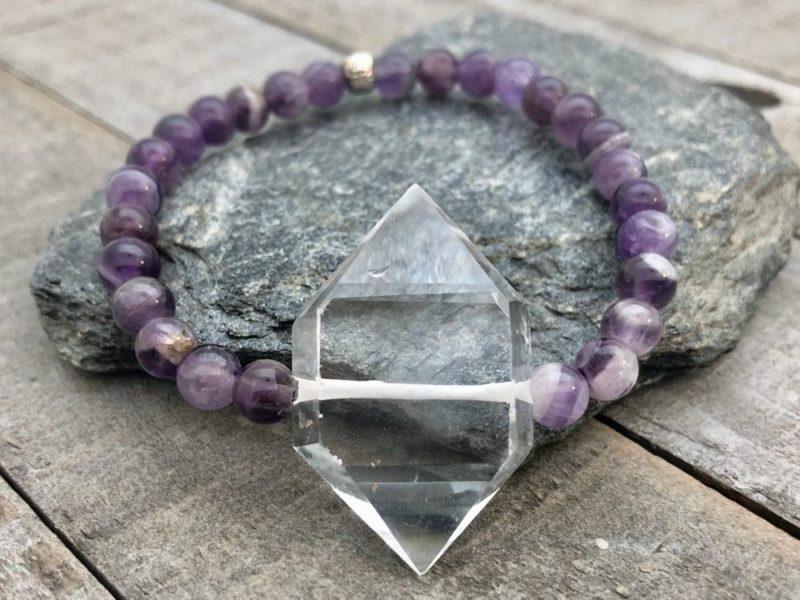 Amethyst Crystal Point Bracelet - amethyst double terminted quartz bracelet