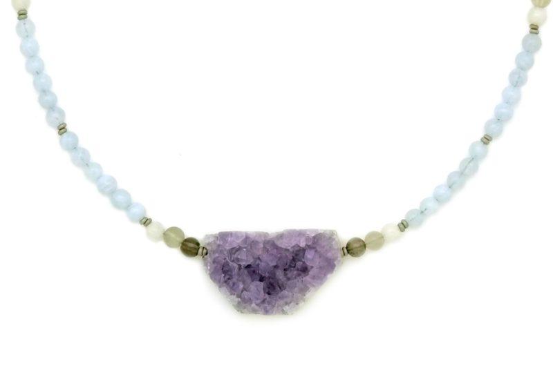 amethyst mini geode necklace