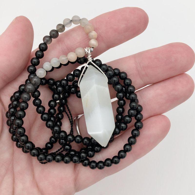 black obsidian & moonstone necklace