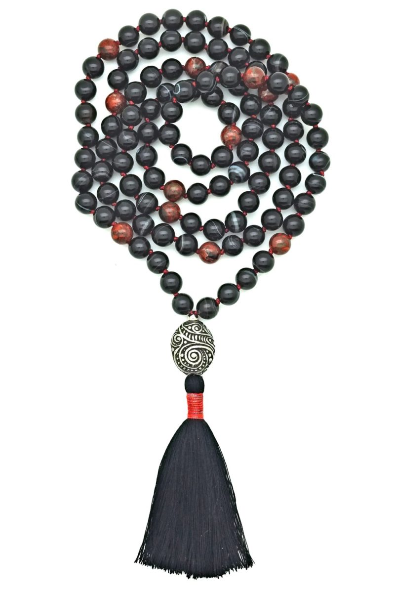 black onyx poppy jasper mala