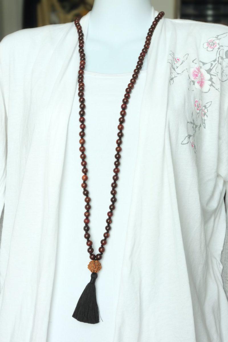 Spiritual Power Mala - black rosewood mala rdrksha guru worn