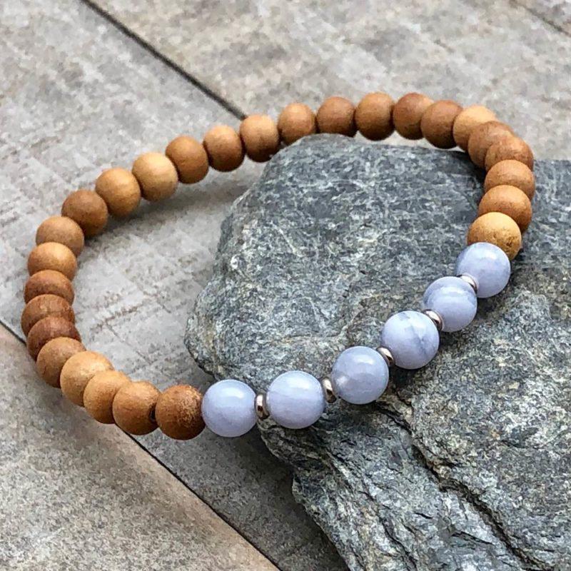 blue lace agate sandalwood stretch bracelet