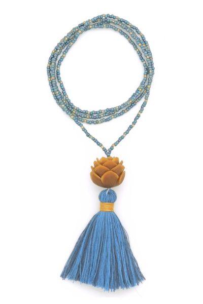 blue lotus tassel necklace