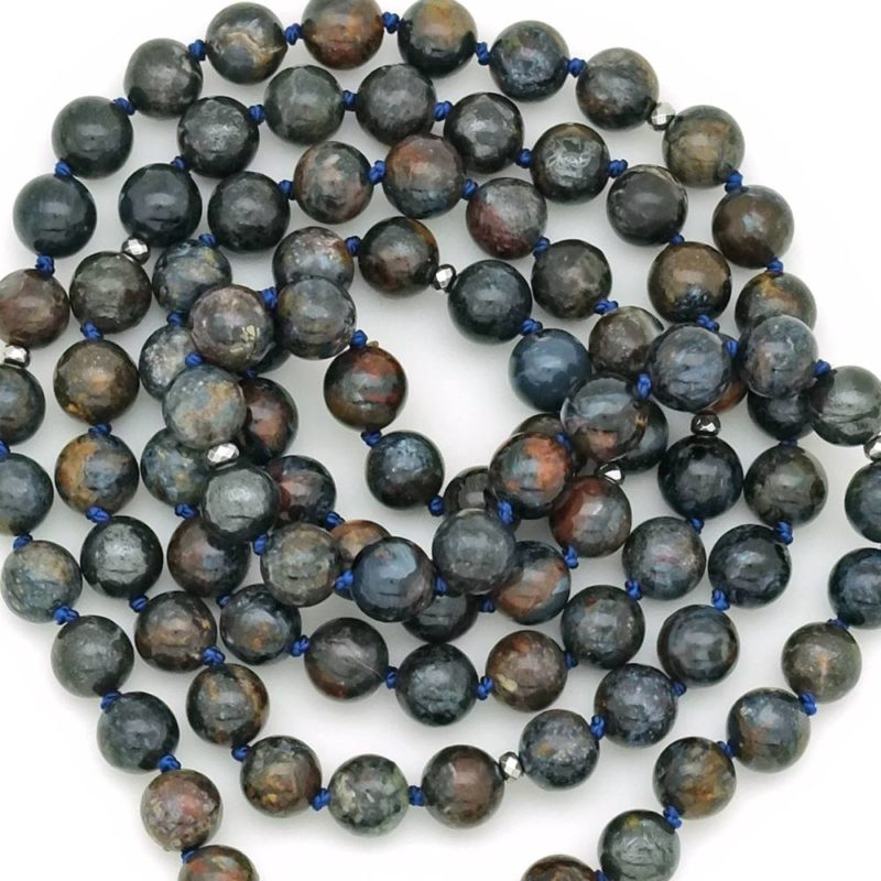 blue pietersite mala beads