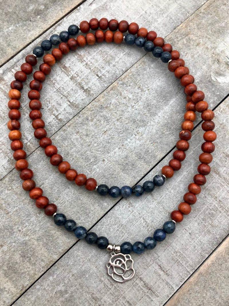 blue rose wrap mala bracelet