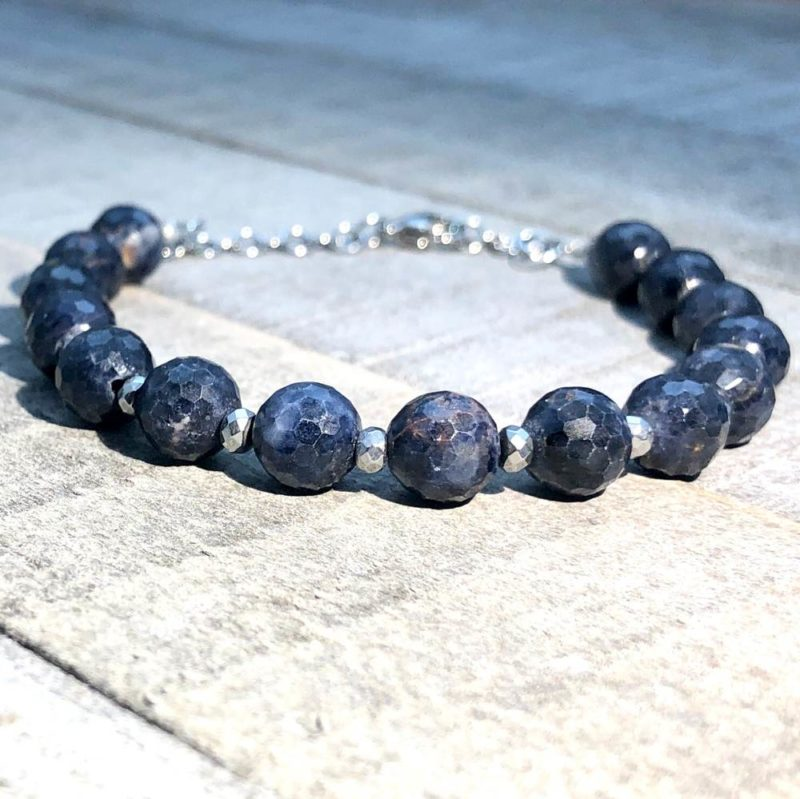 blue sapphire hematite chain bracelet