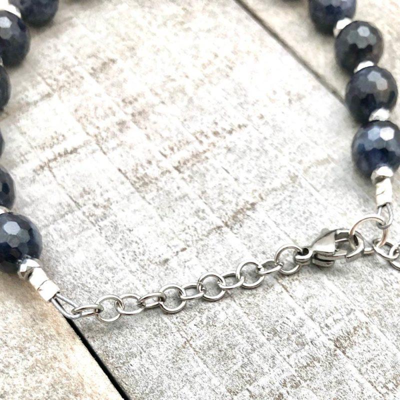 Blue Sapphire Bracelet - blue sapphire hematite chain bracelet back