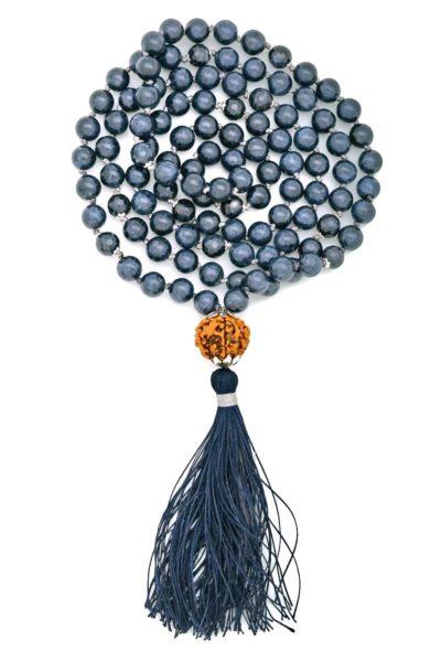 blue sapphire mala rudraksha guru