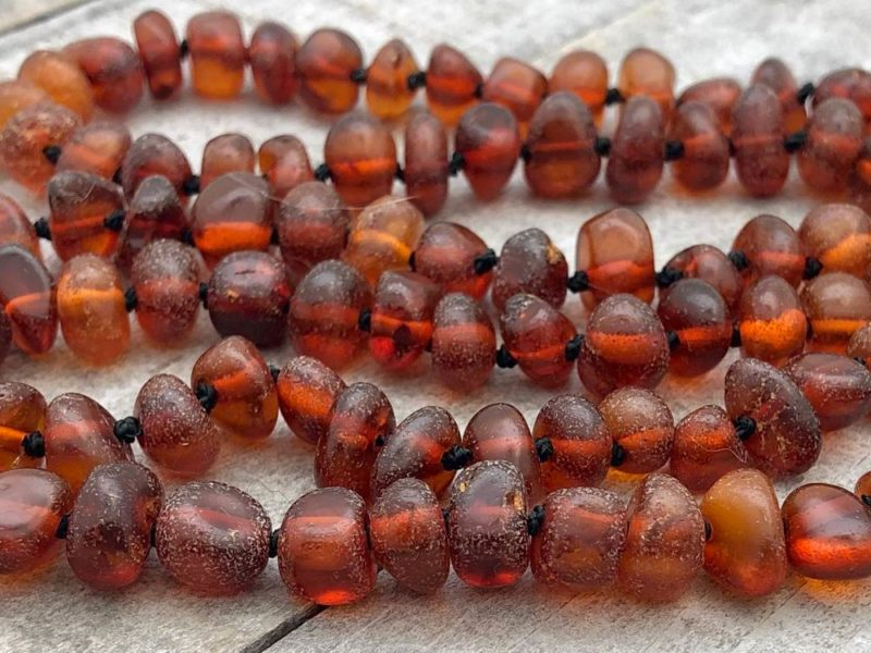 boho amber tassel knotted necklace beads closeup
