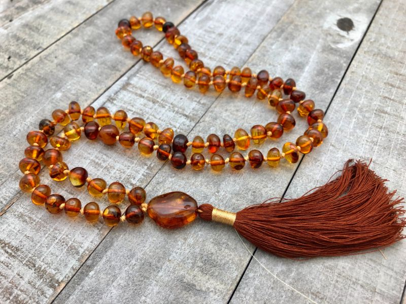 brown amber beaded tassel necklace