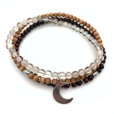 crescent moon stack bracelet