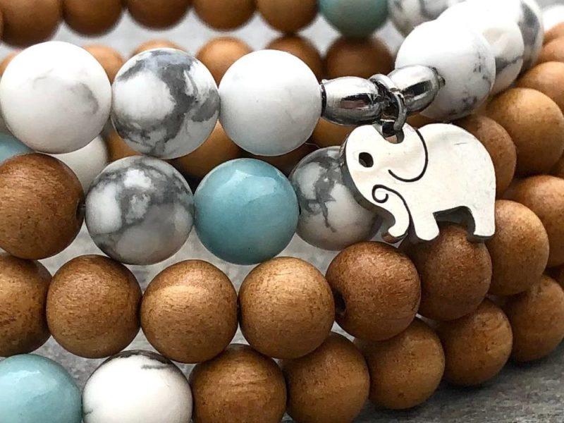 Peaceful Elephant Prayer Beads - elephant wrap bracelet closeup