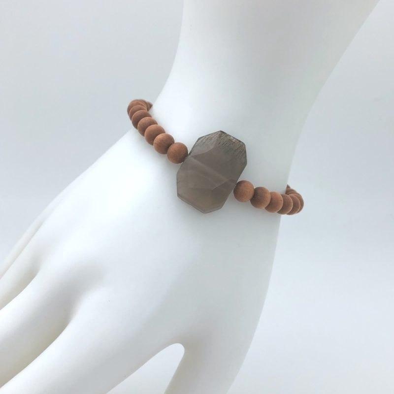 faceted moonstone bracelet worn