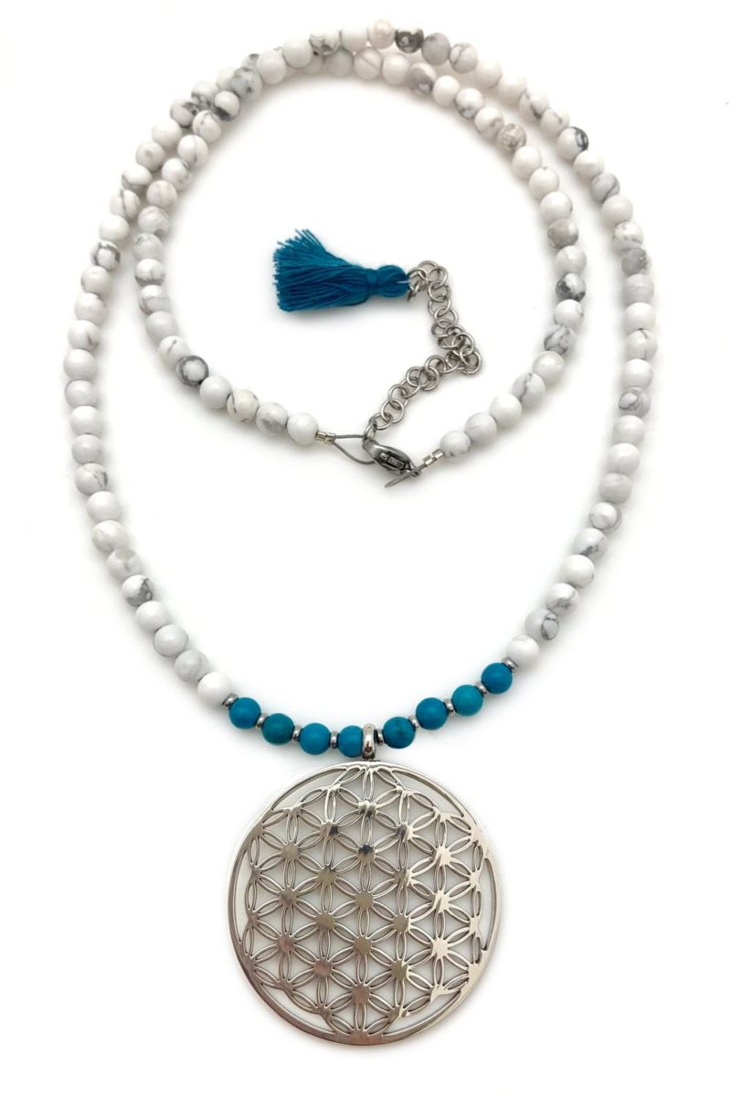 flower of life howlite turquoise necklace