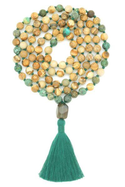 gaia mala with picture & turquoise jasper
