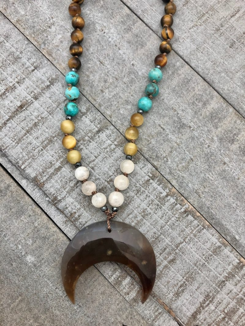 Ancestral Moon Necklace - gemstone knotted necklace with moon pendant