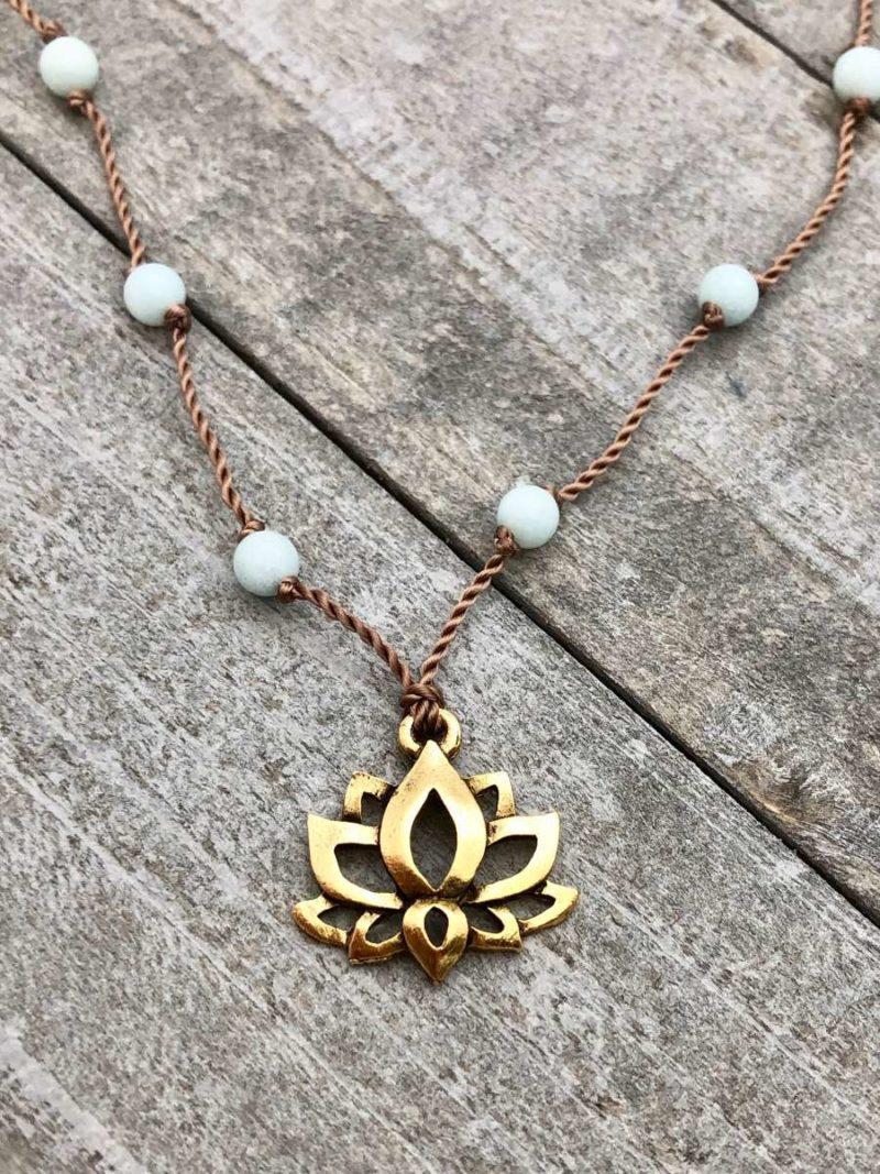 Amazonite Lotus Necklace - gold pewter lotus pendant