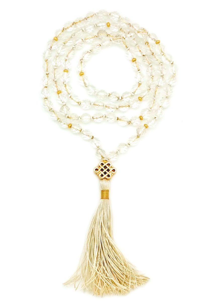 gold quartz endless knot mala