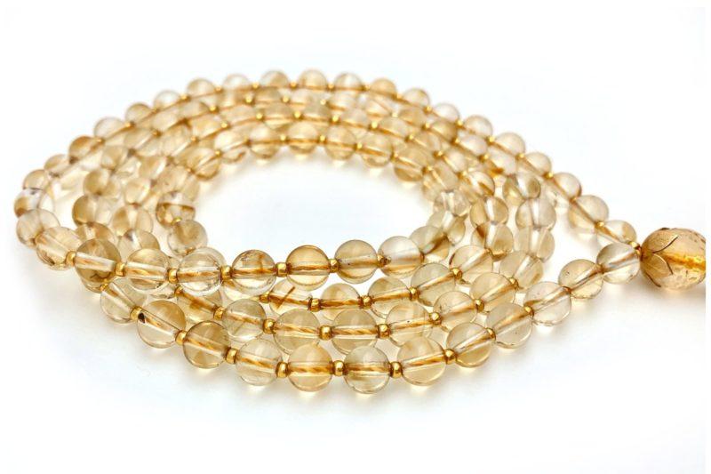 golden citrine mala beads
