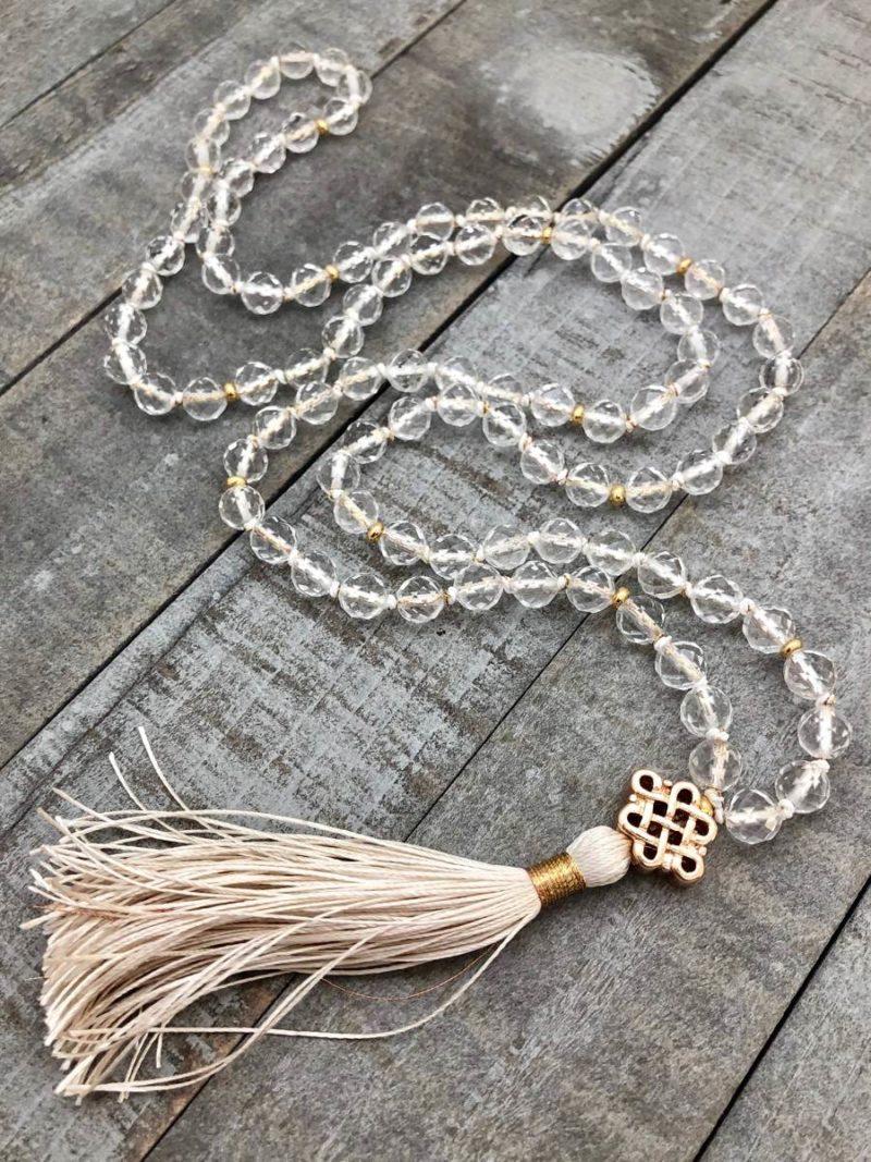 golden endless knot clear quartz mala