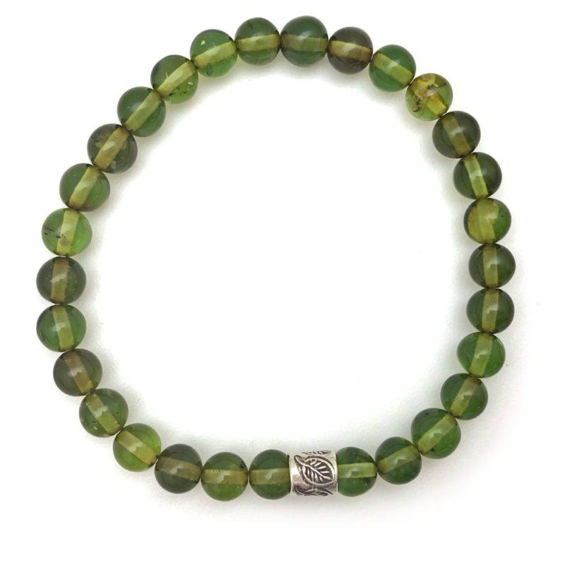 green amber bracelet silver leaf