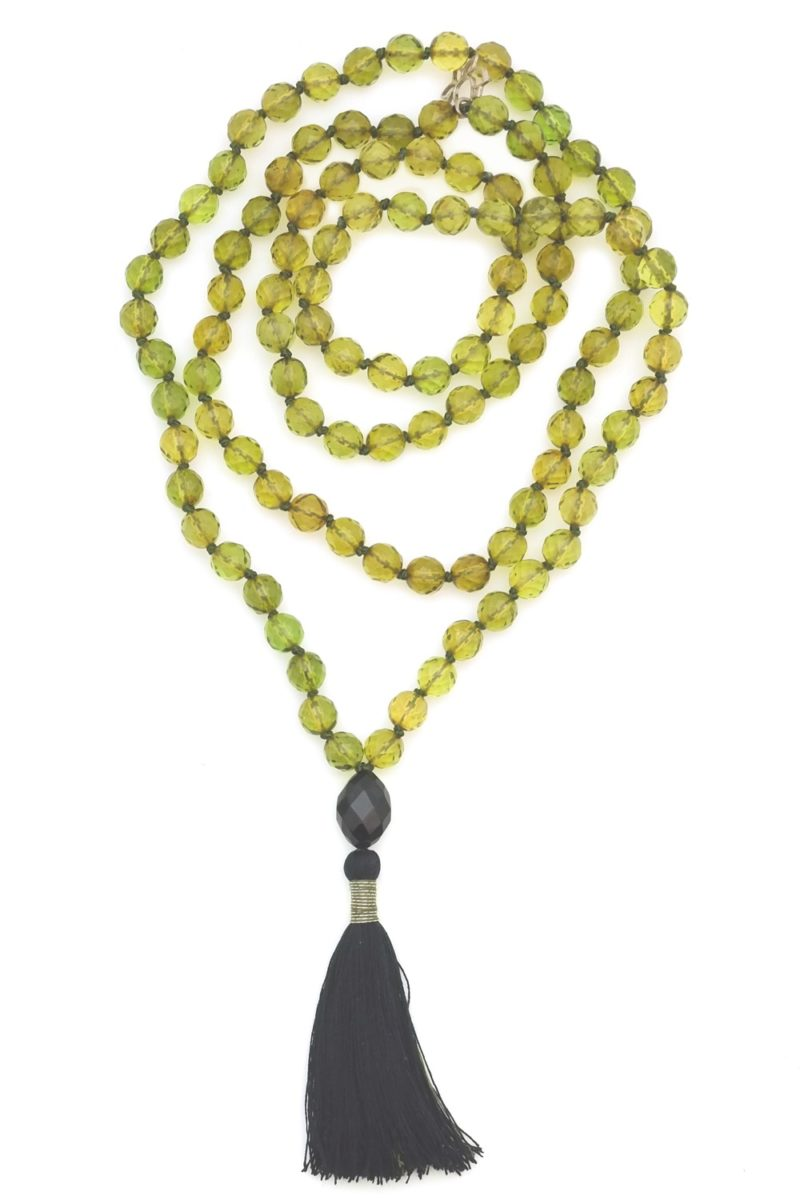 green faceted amber mala