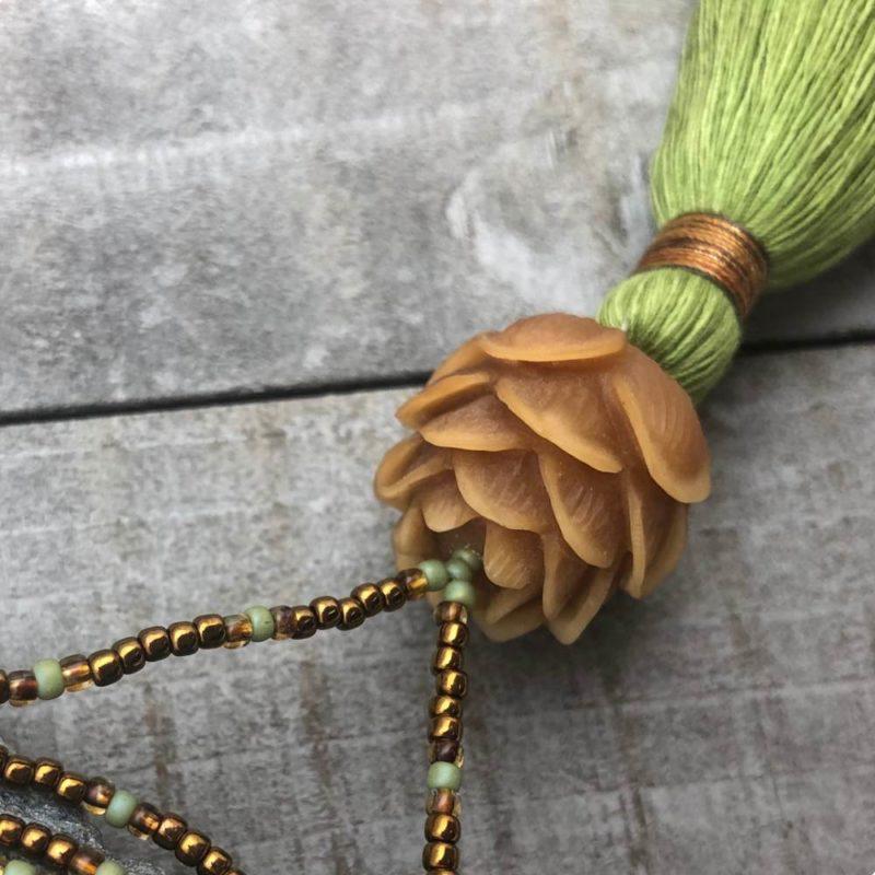 bronze green lotus necklace