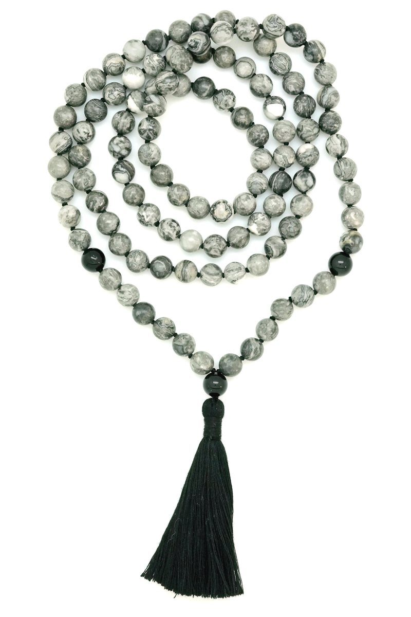grey jasper black onyx mala - Kali Collection
