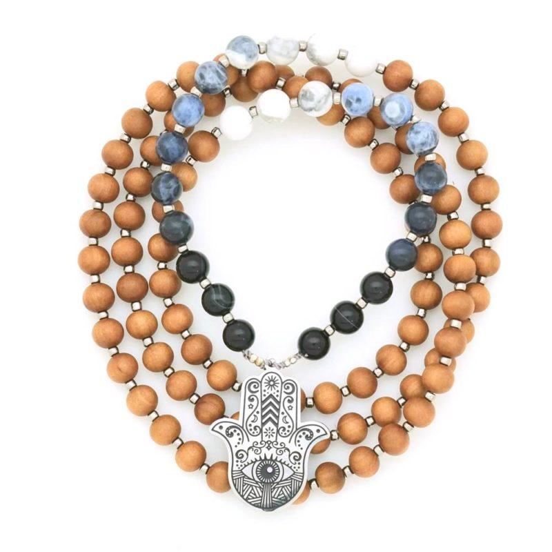 hamsa ombre prayer necklace mala circle