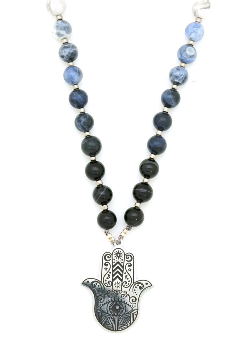 hamsa ombre prayer necklace mala closeup 2