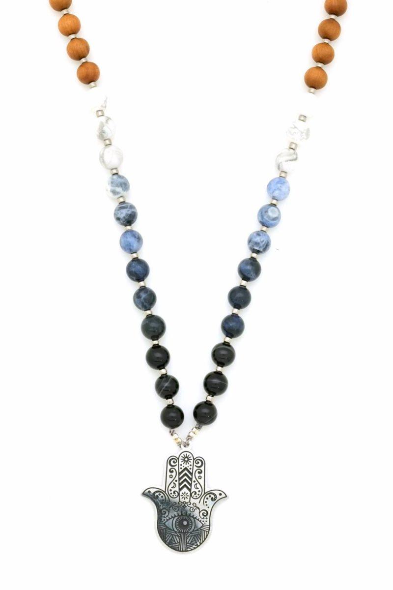 hamsa ombre prayer necklace mala closeup